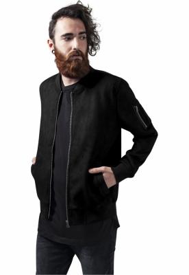 Jacheta imitatie piele intoarsa Bomber negru Urban Classics