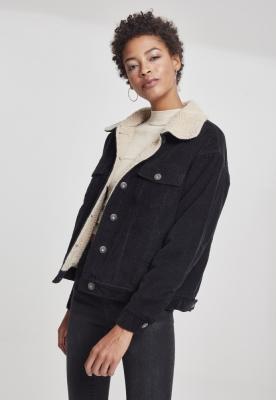 Jacheta lejer Sherpa Corduroy pentru Femei negru-bej