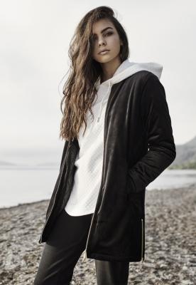 Jacheta lunga tip catifea pentru femei negru Urban Classics