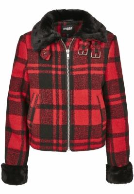 Jacheta Plaid pentru Femei rosu foc-negru Urban Classics