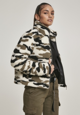 Jacheta pufoasa Sherpa Camo pentru Femei wood-camuflaj Urban Classics