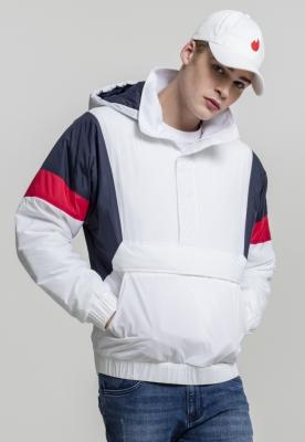 Jacheta Pulover trei culori alb-bleumarin Urban Classics foc rosu