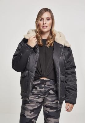 Jacheta Sherpa cu gluga pentru Femei negru-bej Urban Classics