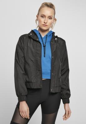 Jacheta supradimensionat Shiny Crinkle nailon pentru Femei negru Urban Classics