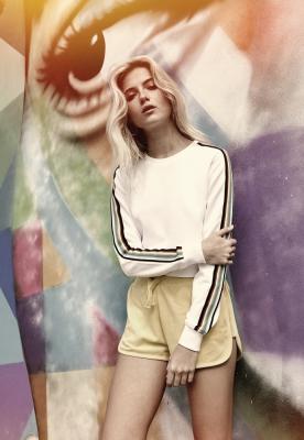 Multicolor Taped Sleeve Crewneck pentru Femei alb Urban Classics