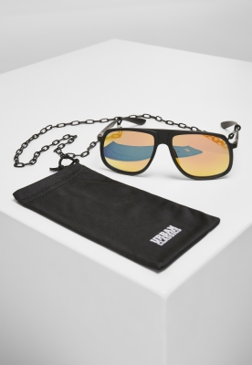 Ochelari de soare cu lant 107 Retro negru-galben Urban Classics