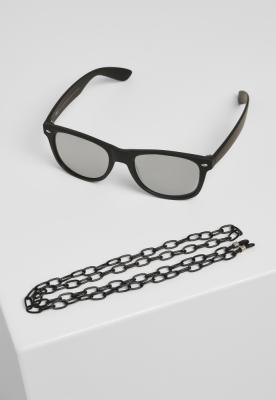 Ochelari de soare Likoma Mirror cu lant negru-argintiu Urban Classics