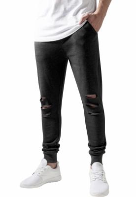 Pantaloni casual cu taieturi la genunchi gri carbune Urban Classics