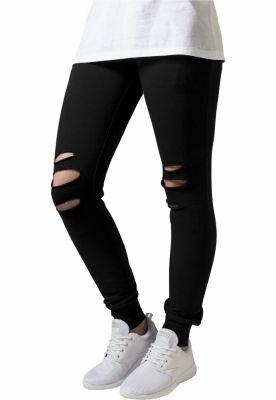 Pantaloni casual cu taieturi la genunchi pentru Femei negru Urban Classics