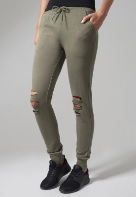 Pantaloni casual cu taieturi la genunchi pentru Femei oliv Urban Classics