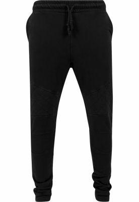 Pantaloni conici cu cusaturi in zona genunchilor negru Urban Classics