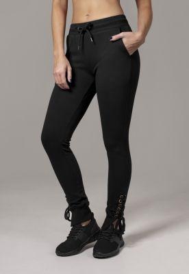Pantaloni cu siret Fitted pentru Femei negru Urban Classics