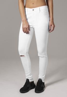 Pantaloni cu taieturi la genunchi pentru Femei alb Urban Classics