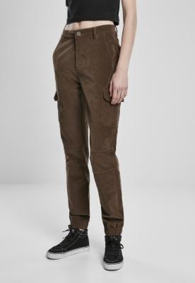 Pantaloni cu talie inalta Cargo Corduroy pentru Femei inchis-oliv Urban Classics