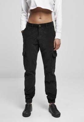 Pantaloni cu talie inalta Cargo Corduroy pentru Femei negru Urban Classics