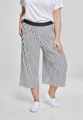 Pantaloni Culottes cu dungi Pleated pentru Femei alb-negru