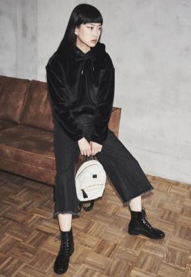 Pantaloni Culottes Denim pentru Femei negru-washed