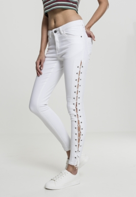 Pantaloni Denim cu siret Skinny pentru Femei alb Urban Classics