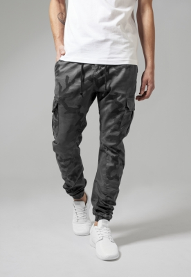 Pantaloni jogging Camo Cargo gri-camuflaj