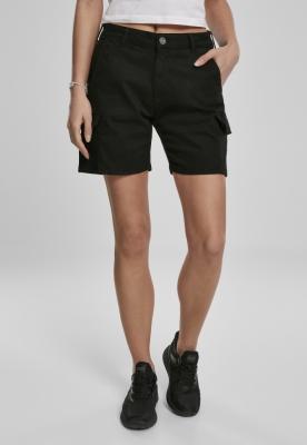 Pantaloni scurti cargo cu talie inalta pentru Femei negru Urban Classics