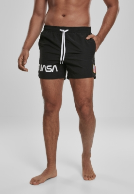 Pantaloni scurti inot NASA Worm Logo negru Mister Tee