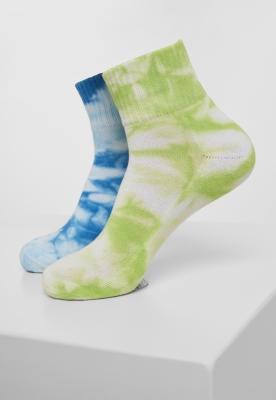 Set de 2 Sosete scurte cu imprimeu Tie Dye verde-albastru Urban Classics