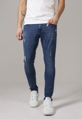 Pantaloni Skinny denim stretch cu taieturi albastru-denim Urban Classics