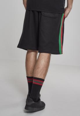 Pantaloni sport scurti cu dungi negru-rosu foc Urban Classics