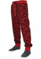 Pantaloni sport imprimeu zebra rosu-negru Urban Classics