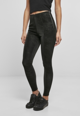 Pantaloni Washed piele ecologica pentru Femei negru Urban Classics