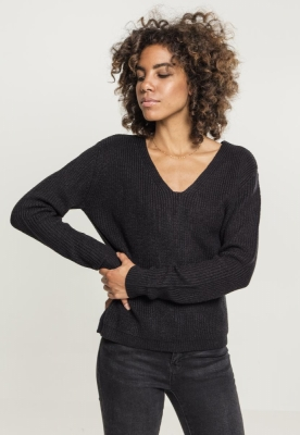 Pulover Back cu siret pentru Femei negru Urban Classics