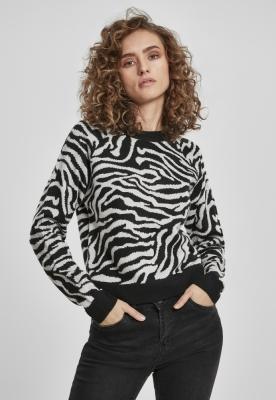 Pulover scurt imprimeu tigru pentru Femei negru-gri Urban Classics