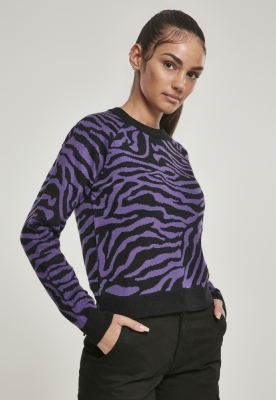 Pulover scurt imprimeu tigru pentru Femei negru-mov Urban Classics