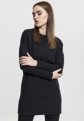 Rochie larga cu model matlasat si maneca lunga pentru Femei negru Urban Classics