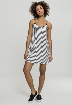 Rochie plisata cu dungi pentru Femei alb-negru Urban Classics