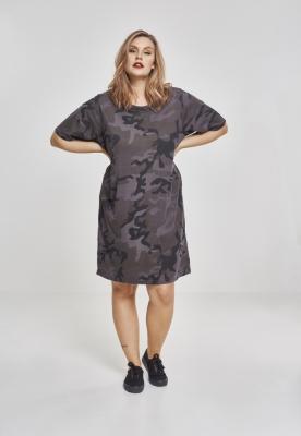 Rochie tricou Camo pentru Femei inchis-camuflaj Urban Classics