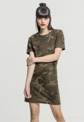 Rochie tricou Camo pentru Femei oliv-camuflaj Urban Classics