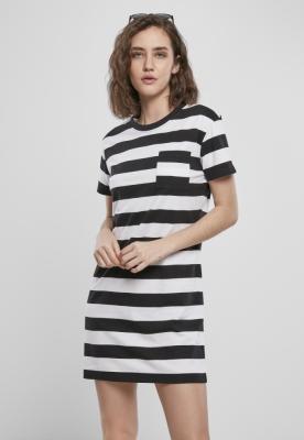 Rochie tricou cu dungi Boxy pentru Femei negru-alb Urban Classics