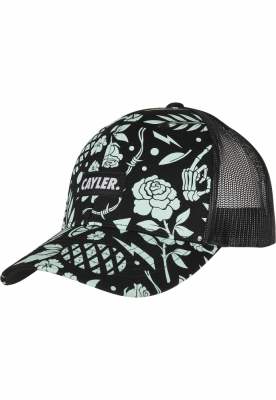 Sepci C&S WL Statement Leaves N Wires Curved Trucker negru-menta Cayler and Sons