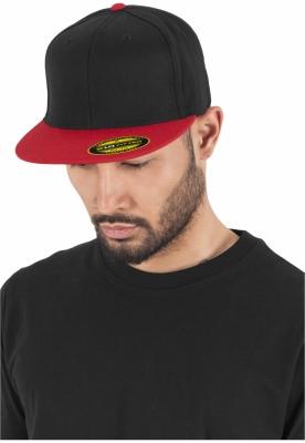 Sepci rap Premium 210 Fitted doua culori negru-rosu Flexfit