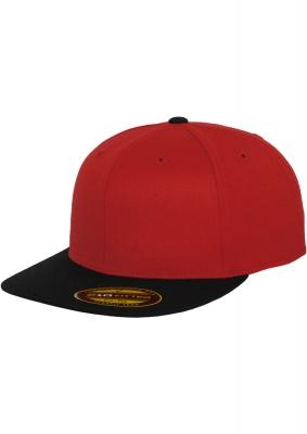 Sepci rap Premium 210 Fitted doua culori rosu-negru Flexfit