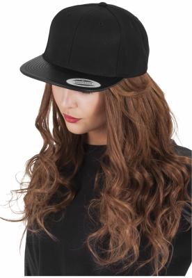 Sepci rap Snapback din piele negru-negru Flexfit