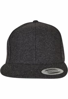 Sepci rap Snapback Melton Wool gri inchis Flexfit