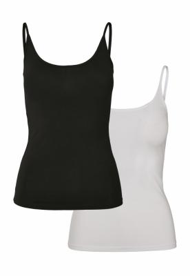 Set 2 topuri basic pentru Femei negru-+ Urban Classics alb