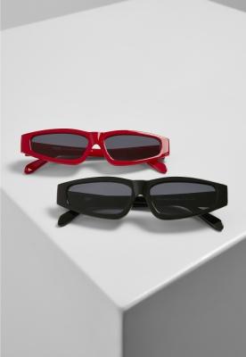 Set de 2 Ochelari de soare Lefkada negru-black+red Urban Classics rosu