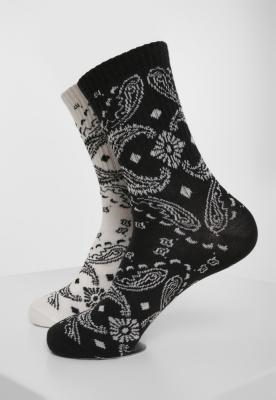 Set de 2 Sosete Bandana Pattern negru-alb Urban Classics