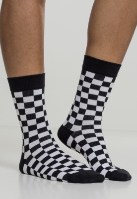 Set de 2 Sosete Checker negru-alb Urban Classics