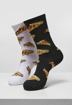 Set de 2 Sosete Pizza Slices negru-alb Mister Tee