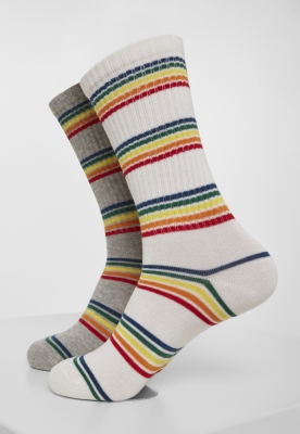 Set de 2 Sosete Rainbow Stripes gri-alb Urban Classics