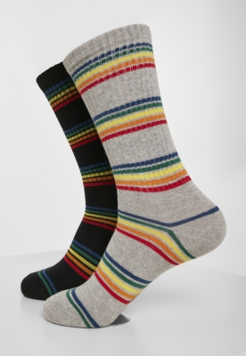 Set de 2 Sosete Rainbow Stripes negru-gri Urban Classics